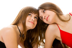 Two girlfriends Stock Images