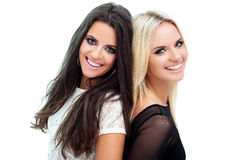 Two girlfriends. Two happy girlfriends posing on white background royalty free stock image