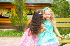 Two girlfriends. Adorable little children on happy birthday. Kid in park royalty free stock images