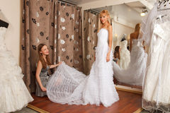 Two girlfriends in bridal Boutique Royalty Free Stock Image