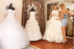 Two girlfriends in bridal Boutique Stock Photo