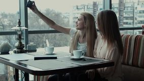 Two girlfriends do selfie in cafe. Using phone stock video footage