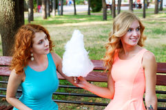 Two girlfriends eating cotton candy. Summer activities Stock Photo