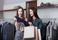 Two girlfriends go shopping Stock Photography