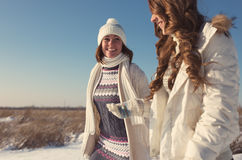 Two girlfriends have fun at beautiful winter day Stock Photography