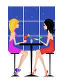 Two Girlfriends Having Drinks. Fashion illustration of two stylish women having drinks Royalty Free Stock Photography