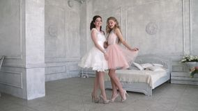 Two girlfriends having fun and posing on camera. Girls are going to a party. Charming and cute girls are posing for the camera. Girlfriends going to a party stock video