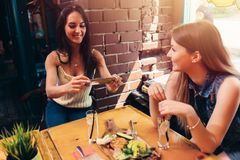 Two girlfriends having healthy lunch in cafe. Young woman taking picture of food with smartphone posting on social media. Two girlfriends having healthy lunch in Royalty Free Stock Images