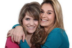 Two girlfriends hugging Stock Photos