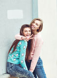 Two girlfriends are hugging and having fun Royalty Free Stock Photography