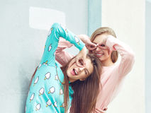 Two girlfriends are hugging and having fun Royalty Free Stock Photos