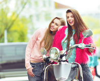 Two girlfriends are hugging and having fun Royalty Free Stock Images