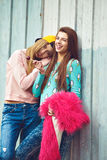 Two girlfriends are hugging and having fun Stock Photos