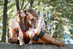 Two girlfriends outdoor Stock Images