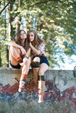 Two girlfriends outdoor Royalty Free Stock Images