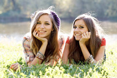 Two girlfriends outdoor Royalty Free Stock Image