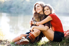 Two girlfriends outdoor Royalty Free Stock Photo