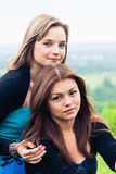 Two girlfriends outdoors Royalty Free Stock Photo