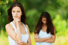 Two girlfriends quarrel Royalty Free Stock Photo