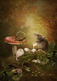 Two girlfriends. Rat regales white mouse sitting on the stump in a forest under the fly agaric.In paws holds a jug of milk,baskets with nuts are next Stock Photo