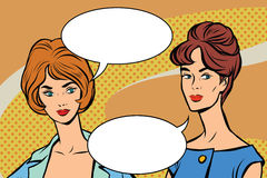 Two girlfriends retro women vector pop art Royalty Free Stock Photo