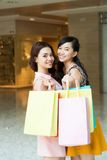 Happy shoppers stock photography