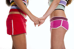 Two girlfriends in short Royalty Free Stock Photos