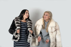 Two  girlfriends  in short fur coats walk Stock Photo