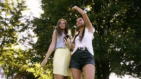 Two girlfriends / sisters dance in pairs and listen to music. Girls listen to music through headphones, sing along and dance. Girls dancing on the grass stock video