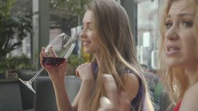 Two girlfriends sitting at the table in the cafe chatting and enjoying alcohol. Pretty elegant woman with long hair stock video footage