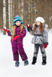 Two girlfriends stand in winter park Stock Photography