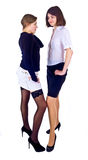 Two girlfriends standing. Two young females standing isolated on the white Stock Image