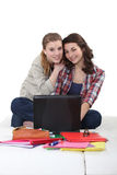 Two girlfriends studying Stock Photo