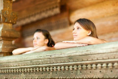 Two girlfriends on summer vacations Stock Images