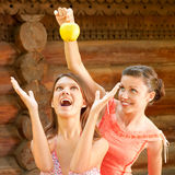 Two girlfriends on summer vacations Stock Photos
