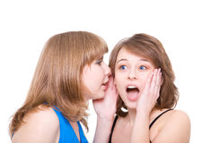 Two girlfriends talk. Close up. Royalty Free Stock Photography