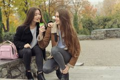Two girlfriends try to warm up with a hot drink in the outdoors stock image
