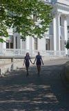 Two girlfriends walk Royalty Free Stock Image