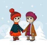 Two girlfriends in winter Stock Photo