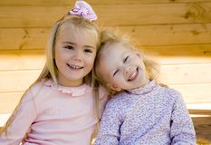 Two girls 2. Two little girls interacting together 2 Royalty Free Stock Photography