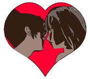 Two Girls. An Illustration of Two Girls in a Heart Royalty Free Stock Photography