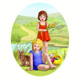 Two girls. Two nice girls on the village nature Stock Photos