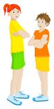Two girls. Standing with white background vector illustration