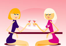 Two girls. Vector image of two girls in cafe Stock Photos