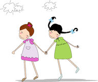Two girls. Hand-in-hand,they good friends Royalty Free Stock Photos