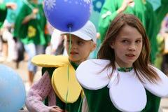 Two girls. Scenes of Carnival in Krasnoyarsk city, Russia stock images