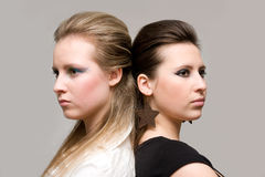 Two girls. Portrait two girls after quarrel Stock Images