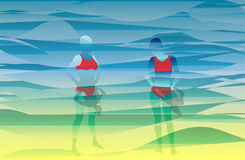 Two girls in abstract beach background Stock Image