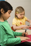 Two Girls in Art Class Royalty Free Stock Images