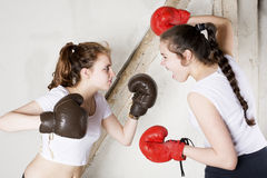 Two girls as boxers Royalty Free Stock Photos